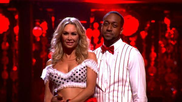 Jaleel White, who played Steve Urkel on 'Family Matters,' and his partner Kym Johnson await possible elimination on 'Dancing With The Stars: The Result Show' on Tuesday, March 27, 2012. The pair received 22 out of 30 points f