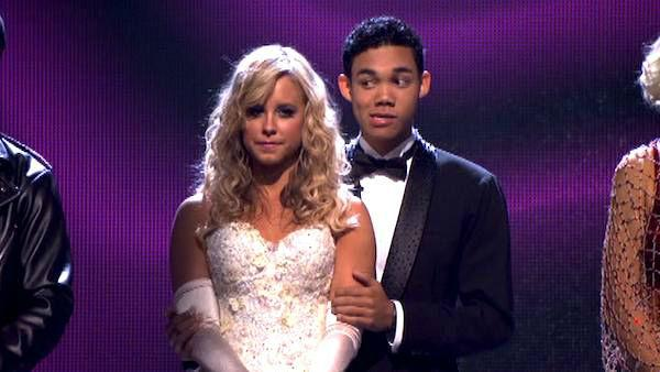 Disney Channel star Roshon Fegan and his partner Chelsie Hightower await possible elimination on 'Dancing With The Stars: The Result Show' on Tuesday, March 27, 2012. The pair received 26 out of 30 points from the judges for their quickstep on the March 2