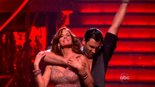 Melissa Gilbert, a former child star who played Laura on 'Little House on the Prairie,' and her partner Maksim Chmerkovskiy react to being safe from elimination on 'Dancing With The Stars: The Results Show' on 'Dancing With The Stars: The Result Show' on
