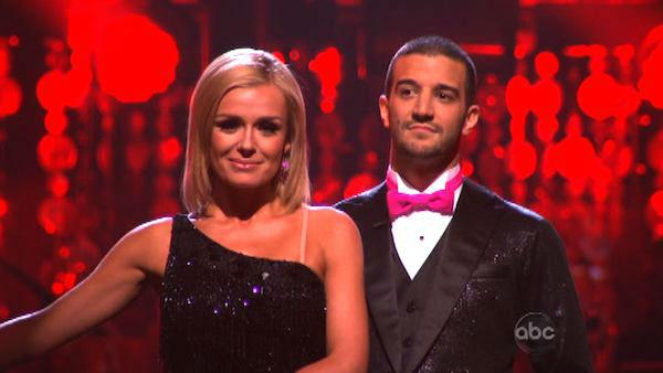Classical singer Katherine Jenkins and her partner Mark Ballas await possible elimination on 'Dancing With The Stars: The Result Show' on Tuesday, March 27, 2012. The pair received 26 out of 30 points from the judges for their jive on the March 26 episode