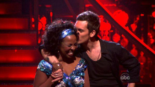 R&B legend Gladys Knight and her partner Tristan MacManus react to being safe from elimination on 'Dancing With The Stars: The Result Show' on Tuesday, March 27, 2012. The pa