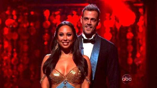 Telenovela star William Levy and his partner Cheryl Burke await possible elimination on 'Dancing With The Stars: The Result Show' on Tuesday, March 27, 2012. The pair received 25 out of 30 points from the judges for their quickstep on the March 26 episode