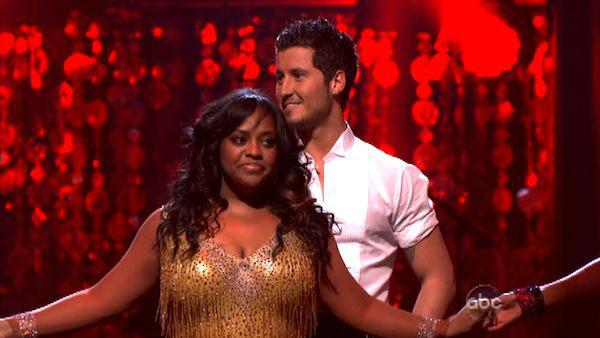 'The View' co-host Sherri Shepherd and her partner Valentin Chmerkovskiy await possible elimination on 'Dancing With The Stars: The Result Show' on Tuesday, March 27, 2012. The pair received 23 out of 30 points from the judges for their jive on the March
