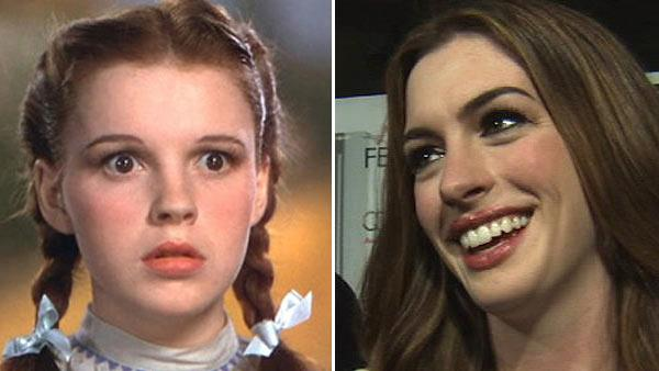 Judy Garland appears in the 1939 movie The Wizard of Oz. / Anne Hathaway talks to OnTheRedCarpet.com about buying fluorescent bras for her Love and Other Drugs character at the premiere for the film in November 2010. - Provided courtesy of MGM / OTRC