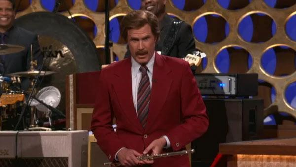 Will Ferrell appears as Ron Burgundy on the TBS talk show Conan on March 28, 2012. - Provided courtesy of TBS
