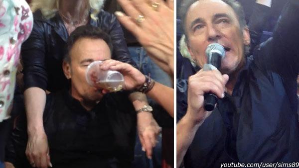 Bruce Springsteen appears at a concert in Philadelphia on March 28, 2012. He chuigged a beer handed to him by a fan. - Provided courtesy of youtube.com/user/sims89