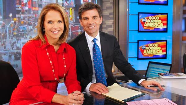 Katie Couric returns to morning television to guest host with George Stephanopoulos for the week of April 2, 2012 on Good Morning America, airing on the ABC Television Network. The two are pictured in a photo released by the network. - Provided courtesy of ABC / Lou Rocco