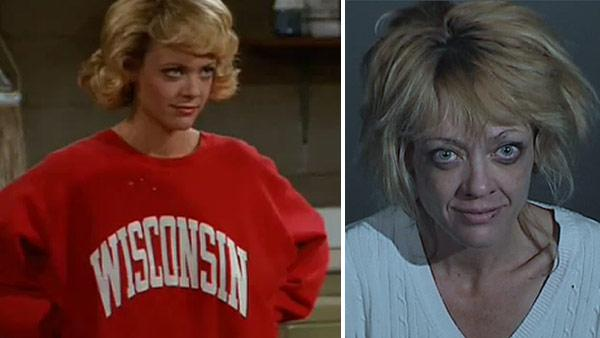 Lisa Robin Kelly appears in a scene from the FOX show That 70s Show. / Lisa Robin Kelly appears in a booking photo taken on March 31, 2012 after she was arrested on suspicion of spousal assault in Los Angeles County, California. - Provided courtesy of  Carsey-Werner-Mandabach Productions / FOX / Los Angeles County Sheriffs Department