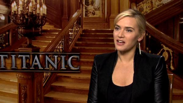 Kate Winslet appears in an interview for 'Titanic 3D' in 2012.