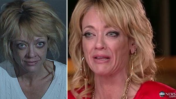 Lisa Robin Kelly appears in a booking photo taken on March 31, 2012 after she was arrested on suspicion of spousal assault in Los Angeles County, California. / Lisa Robin Kelly appears on ABCs Good Morning America on April 5, 2012. - Provided courtesy of Los Angeles County Sheriffs Department / ABC