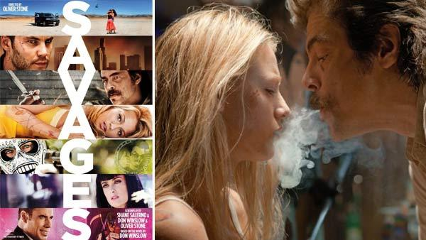 The official poster for Savages. / Blake Lively and Benicio del Toro appear in a still from Savages. - Provided courtesy of Universal Pictures