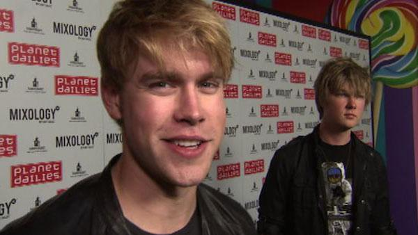 Glee star Chord Overstreet talks to OnTheRedCarpet.com at the opening of restaurant Planet Dailies and its cocktail lounge Mixology 101 in Los Angeles on April 5, 2012.