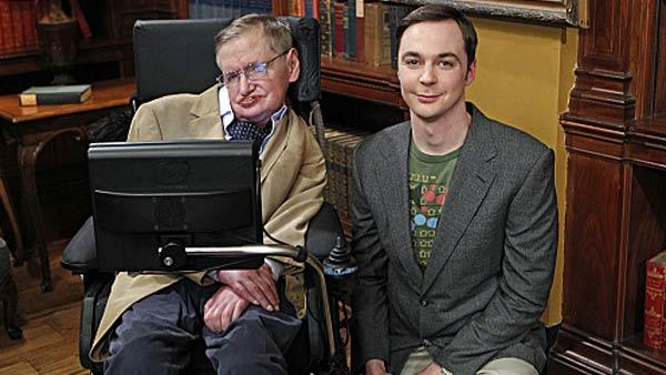 Stephen Hawking and Jim Parsons appear in a still from an April 2012 episode of The Big Bang Theory. - Provided courtesy of Sonja Flemming/CBS