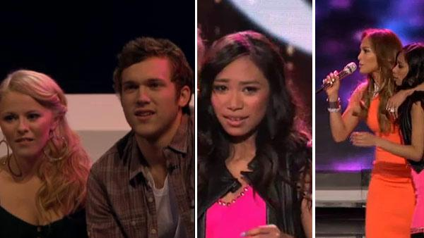 Holly Cavanagh, Phillip Phillips, Jessica Sanchez and Jennifer Lopez appear on American Idol on April 12, 2012. Sanchez was set to be voted off in what marked season 11s biggest shocker but the judges used a save tactic to give her another chance. - Provided courtesy of OTRC