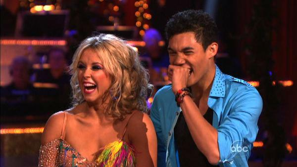 Disney Channel star Roshon Fegan and his partner Chelsie Hightower received 26 out of 30 points from the judges for their Salsa on week five of 'Dancing With The Stars,' which aired on April 16, 2012.