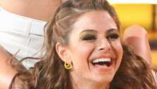 TV personality Maria Menounos and partner Derek Hough received 27 out of 30 points from the judges for their Salsa on week five of Dancing With The Stars on April 16, 2012. - Provided courtesy of ABC