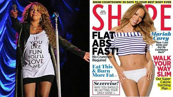 Mariah Carey appears in a photo posted on her official website from her August 2010 performance in Brazil. / Mariah Carey appears on the May cover of Shape magazine. - Provided courtesy of Mariahcarey.com / Shape magazine
