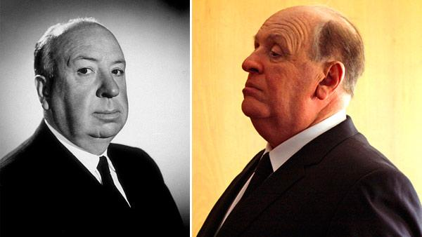 Alfred Hitchcock appears on the set of Alfred Hitchcock Presents. / Anthony Hopkins appears in a promotional photo for Hitchcock. - Provided courtesy of Gabi Rona / MPTV / Fox Searchlight Pictures