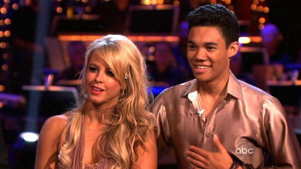 Disney Channel star Roshon Fegan and his partner Chelsie Hightower received 23 out of 30 points from the judges for their Rumba on week six of 'Dancing With The Stars,' which aired on April 23, 2012.