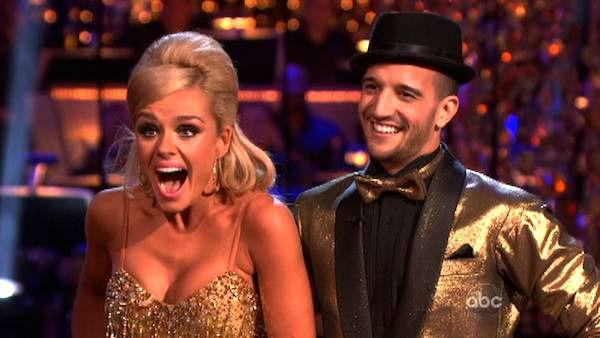 Classical singer Katherine Jenkins and her partner Mark Ballas received 29 out of 30 points from the judges for their Samba on week six of Dancing With The Stars, which aired on April 23, 2012. - Provided courtesy of ABC