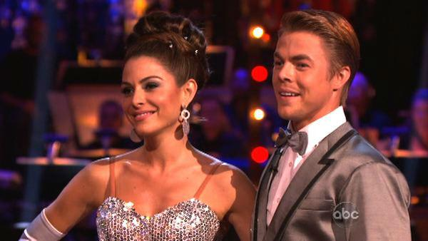 TV personality Maria Menounos and her partner Derek Hough received 26 out of 30 points from the judges for their Fox Trot on week six of 'Dancing With The Stars,' which aired on April 23, 2012.