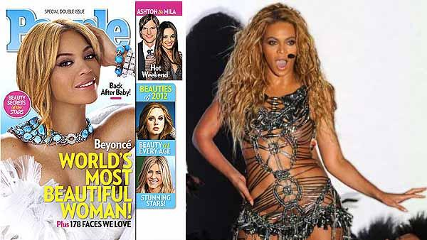 Beyonce was named 'Most Beautiful Woman' of 2012 and graces the cover of the magazine's annual 'Most Beautiful issue.' / Beyonce performs at