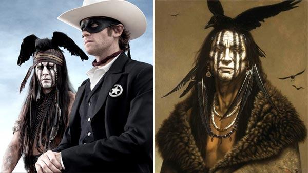 Johnny Depp and Armie Hammer appear in a promotional photo for the 2013 movie The Lone Ranger. / Kirby Sattlers painting, I Am Crow, appears in a photo from the artists official website, with permission from the artist. - Provided courtesy of Peter Mountain / Walt Disney Company / Painting by Kirby Sattler / SattlerArtPrint.com