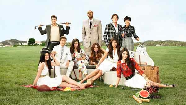 Kendall Jenner, Rob Kardashian, Scott Disick, Kourtney Kardashian, Lamar Odom, Khloe Kardashian Odom, Kim Kardashian, Bruce Jenner, Kris Jenner and Kylie Kardashian appear in a promotional photo for Keeping up with the Kardashians. - Provided courtesy of E! Entertainment