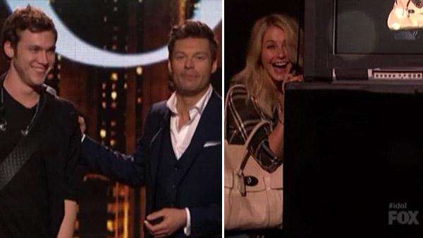 Phillip Phillips, Ryan Seacrest and Julianne Hough appear on American Idol on April 25, 2012. - Provided courtesy of FOX