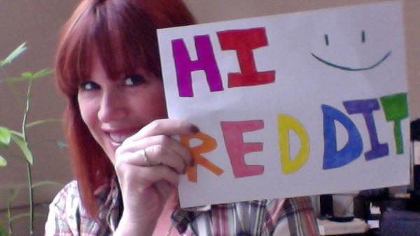 Molly Ringwald poses with a sign to verify her identity on Reddit on April 25, 2012. - Provided courtesy of imgur.com/kTWyz