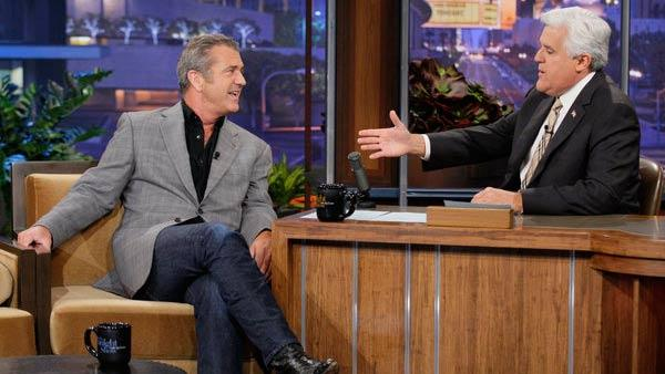 Mel Gibson and Jay Leno appear in a still from an April 27, 2012 episode of The Tonight Show with Jay Leno. - Provided courtesy of NBC / Paul Drinkwater