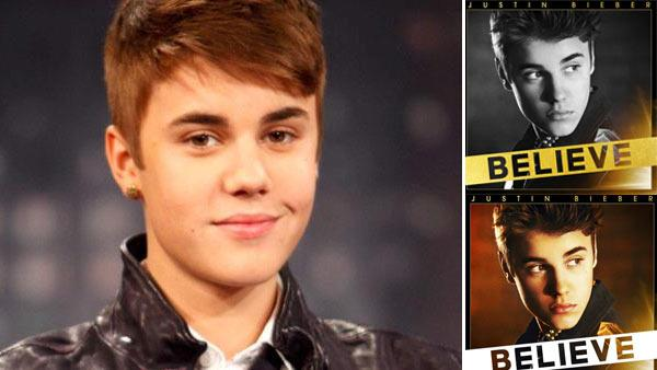 Justin Bieber appears in a photo from the set of Jimmy Kimmel Live on March 28, 2012.  / Justin Bieber appears on album covers for Believe in 2012. - Provided courtesy of AP / RANDY HOLMES / Twitter.com/justinbieber