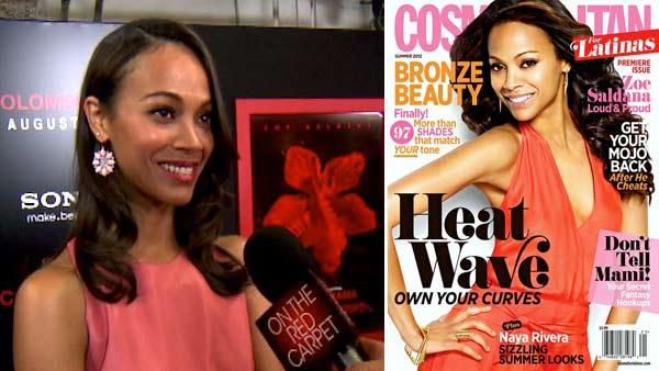 Zoe Saldana talks to OnTheRedCarpet.com at a screening for Colombiana. / Zoe Saldana appears on the cover of Summer 2012 cover of Cosmopolitan for Latinas magazine. - Provided courtesy of OTRC / Cosmopolitan
