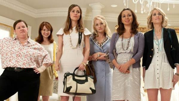 Rose Byrne, Melissa McCarthy, Maya Rudolph, Wendi McLendon-Covey, Kristen Wiig and Ellie Kemper in Bridesmaids in 2011. - Provided courtesy of Universal Studios