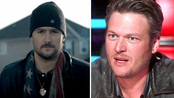Eric Church appears in a scene from his 2012 music video Springsteen. / Blake Shelton appears in a scene from the NBC show The Voice. - Provided courtesy of EMI Records Nashville