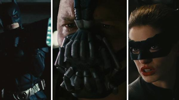 Christian Bale, Tom Hardy and Anne Hathaway appear in scenes from the 2012 film The Dark Knight Rises. - Provided courtesy of Universal Pictures