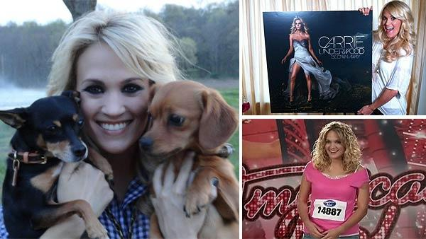 Carrie Underwood Tweeted this photo of her two dogs, Ace and Penny, on March 20, 2012, saying: Guess who came to work with me today?? / Carrie Underwood appears in a Twitter photo on May 1, 2012. / Carrie Underwood appears on American Idol in 2005. - Provided courtesy of t.co/BWNtSvQL / twitter.com/carrieunderwood / FremantleMedia / FOX