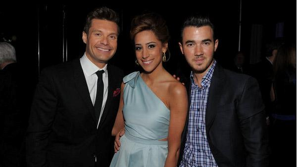 Ryan Seacrest and Dani Jonas and Kevin Jonas of Married to Jonas attend the E! Entertainment Televisions 2012 Upfront presentation at NYC Gotham Hall on Monday, April 30, 2012. - Provided courtesy of Larry Busacca / E! Entertainment