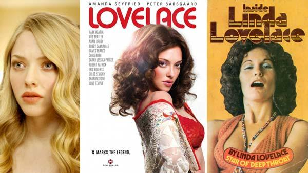 Amanda Seyfried appears in a still from the 2009 film, Chloe. / Amanda Seyfried appears in a promotional poster for the 2012 film, Lovelace. / Linda Lovelace appears on the cover of her 1974 autobiography, Inside Linda Lovelace. - Provided courtesy of Sony Pictures Classics / Animus Films / Heinrich Hanau Publications Ltd