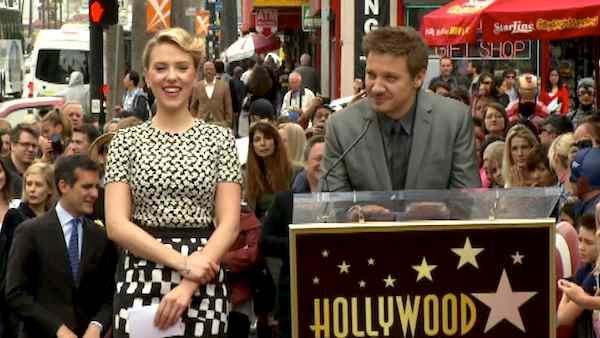 Jeremy Renner speaks at Johansson's star