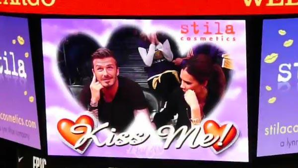 David Beckham and his wife Victoria are caught on kiss cam as they watch an NBA first-round playoff basketball game between the Los Angeles Lakers and the Denver Nuggets at Staples Center in Los Angeles on May 1, 2012. - Provided courtesy of youtube.com/user/TheCottonDJ