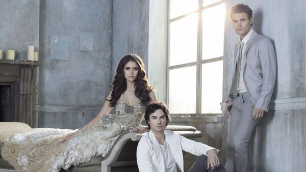 Ian Somerhalder, Nina Dobrev and Paul Wesley appear in an undated promotional photo for the third season of the CW show The Vampire Diaries. - Provided courtesy of The CW Network
