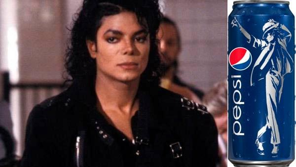 Michael Jackson appears in a scene from the 1987 music video Bad. / A promotional Pepsi can featuring Jacksons image. - Provided courtesy of Sony Digital / Pepsi