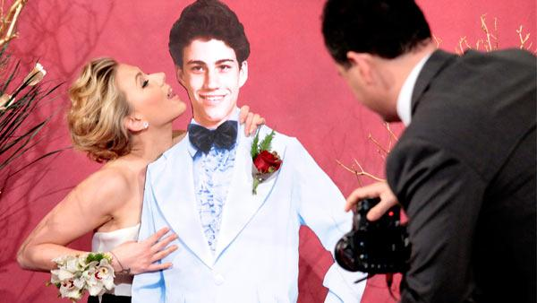 Scarlett Johansson poses with a cardboard cutout of a teenage Jimmy Kimmel on a May 2012 episode of Jimmy Kimmel Live. - Provided courtesy of ABC / Richard Cartwright