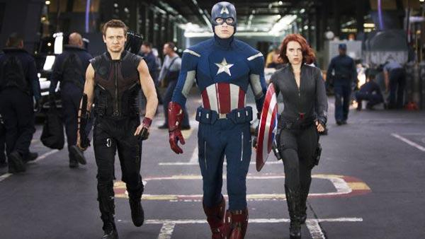 Jeremy Renner, Chris Evans and Scarlett Johansson appear in a still from The Avengers. - Provided courtesy of Marvel Studios