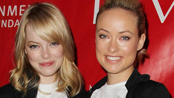 Actresses Emma Stone, left, Olivia Wilde pose at the 15th Annual EIF Revlon Run/Walk for Women, Saturday, May 5, 2012 in New York. - Provided courtesy of AP / Starpix, Amanda Schwab