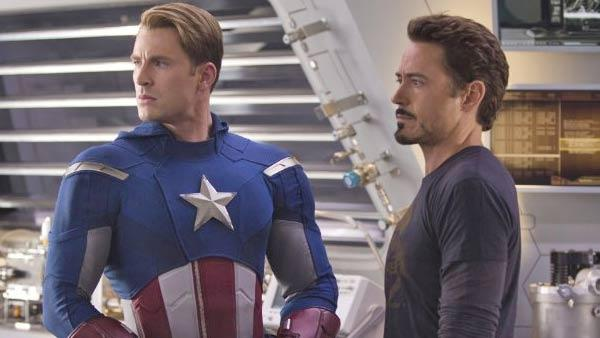 Chris Evans and Robert Downey Jr. appear in a still from the 2012 movie The Avengers. - Provided courtesy of Marvel Studios / Zade Rosenthal