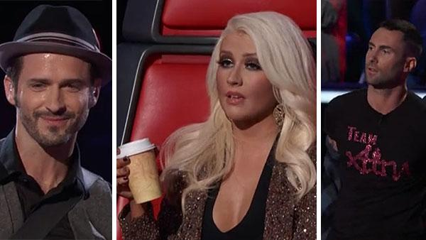 Tony Lucca and coaches Christina Aguilera and Adam Levine appear on NBCs The Voice on May 7, 2012. - Provided courtesy of NBC