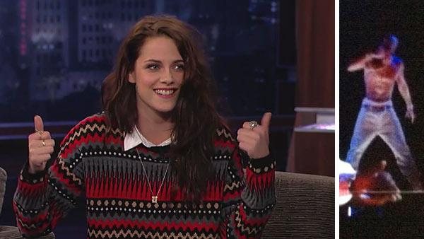 Kristen Stewart appears on ABC talk show Jimmy Kimmel Live! on an episode that aired on May 7, 2012. / A hologram of rapper Tupac Shakur is seen on stage at the 2012 Coachella Valley Music and Arts Festival in California on April 17, 2012. - Provided courtesy of ABC / flickr.com/photos/evsmitty/