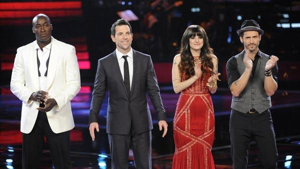 Jermaine Paul, Chris Mann, Juliet Simms, Tony Lucca  appear in a photo from the pre-finale show of The Voice on May 7, 2012. - Provided courtesy of NBC